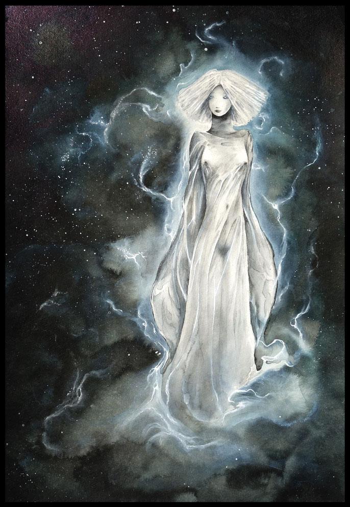 The Muse of not-teaching - atmospheric fantasy watercolor & ink paintings by sebastian rutkowski - moonlight-art