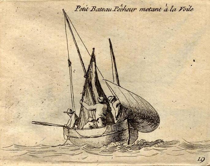 Petite chaloupe avec un équipage de trois hommes, le franc-bord  est important (Gravure Pierre Ozanne)