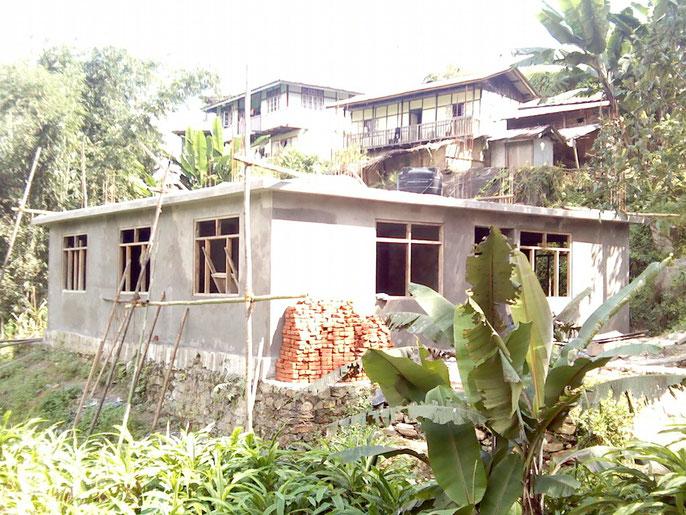Construction progressing on the new school building. Photo taken: November 2012