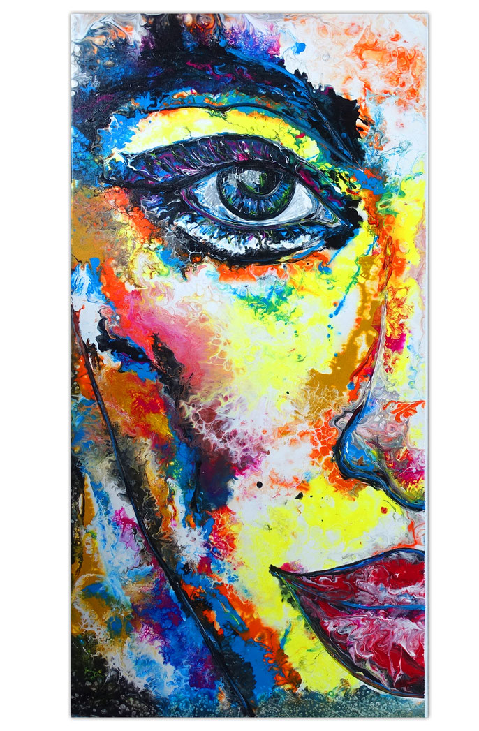 Modernes Gesicht Wandbild handgemalt in Acryl Fluid Art Gemälde Türkis