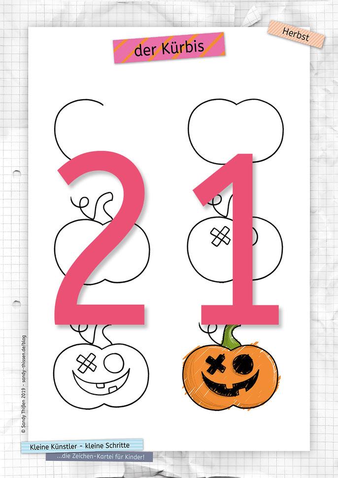 Kürbis zeichnen lernen Halloween Herst malen