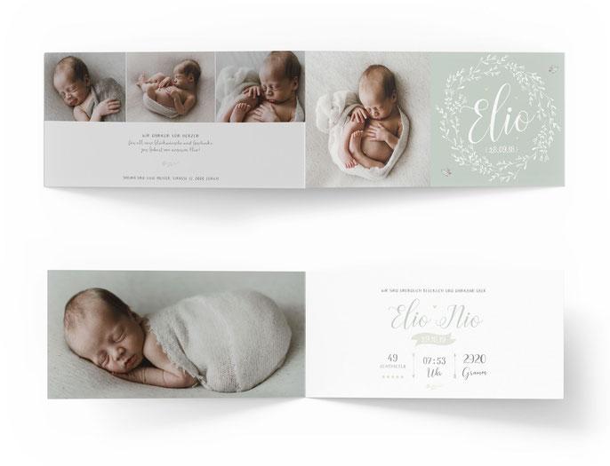 Klappkarte 4-seitige Geburtskarte Geburtsanzeige Kartendings.ch