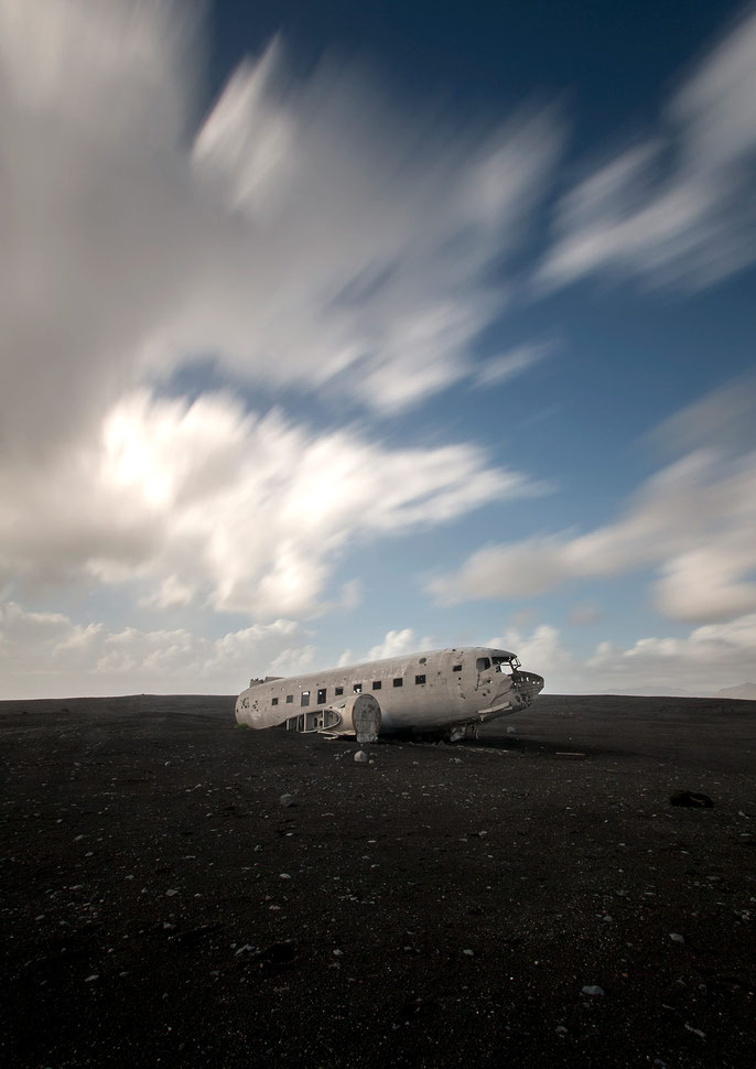 Plane Wreck in Lava Desert and blurred Clouds, Long Exposure, ND-Filter, Iceland, 1280x1809px