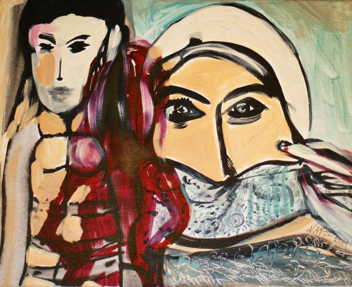 """Nathalie Arun """"Women`s struggle for freedom"""" 2014, 40 x 50 cm, Acryl-Tusche auf Leinwand für Kunsthaus Zendscheid"""
