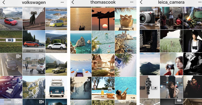 Business Profile von Volkswagen, Thomas Cook, Leica (Quelle: Screenshots Instagram)