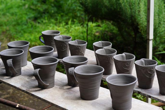 仲本律子 R工房 女性陶芸家 茨城県笠間市 ブログ 粉引化粧掛け コーヒーカップ