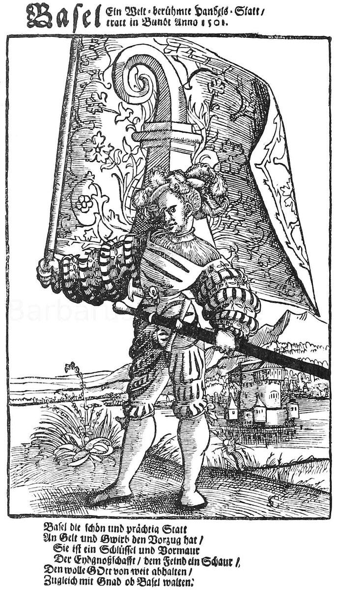 Bannerträger aus dem 16. Jhd. Holzschnitt von Christ. Schweyzer.