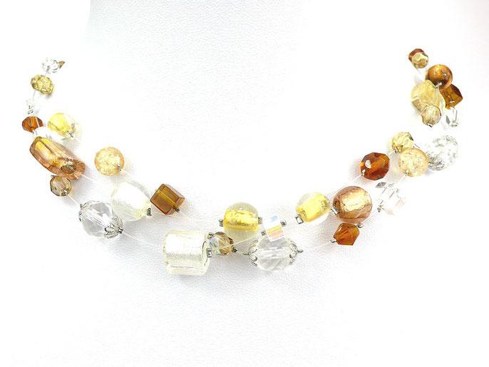 3-reihige Halskette aus Nylonschnüren mit Glasperlen braun goldgelb weiß kristallklar
