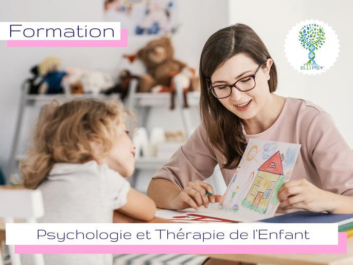 ELLIPSY formation psychothérapie de l'enfant, jeu des 3 figures, dessin d'enfant, marionnettes, jeu de sable, thérapie enfant