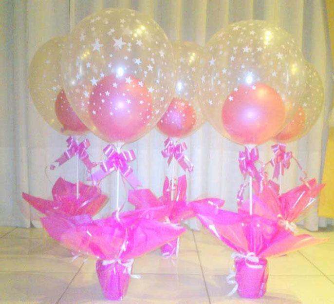centro de mesa con globos para fiesta infantil