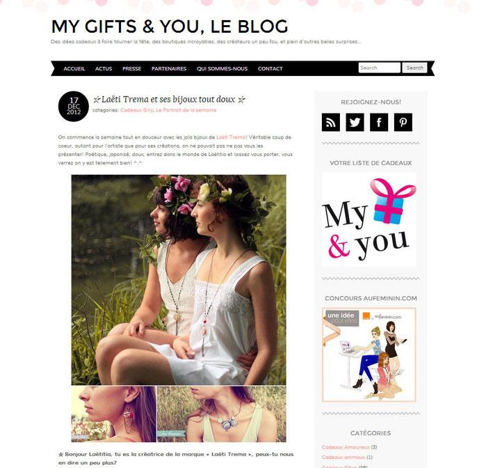 article, cadeaux, blog, my gift and you, liste de cadeaux