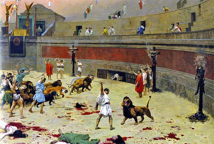 Suite au Grand incendie de Rome en 64, Néron soupçonné d'en être à l'origine, fait accuser faussement les chrétiens qui sont alors persécutés. Néron leur inflige les pires supplices: couverts de peaux de bêtes et exposés aux chiens et fauves, brûlés vifs,