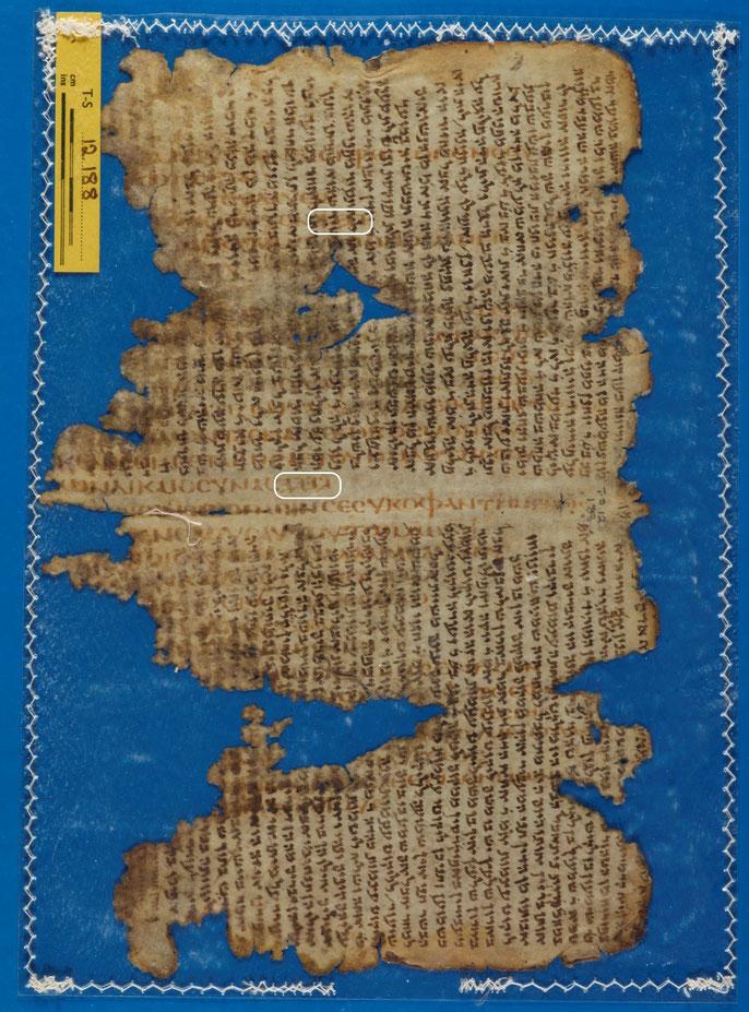 Palimpseste AqTaylor de la traduction d'Aquila; piyyouṭ - TS-012-188-B – Cambridge University Library   Le manuscrit contient des portions des Psaumes 90-103.  Il est rédigé en grec koiné, mais contient le Tétragramme YHWH du Nom de Dieu en paléo-hébreu.
