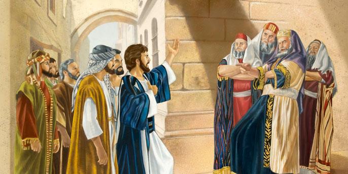 Jésus reproche aux scribes et pharisiens de faire toutes leurs actions pour être vus des hommes, de rechercher les premières places, d'imposer des fardeaux pesants. Ce sont des tombeaux blanchis remplis d'hypocrisie et d'injustice, des guides aveugles.