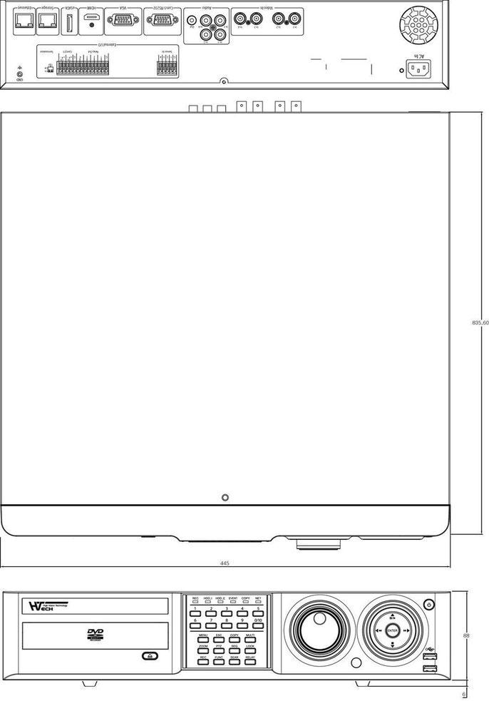 HD-SDI4チャンネルDVR図面