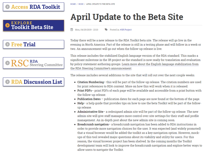 Infos zum April-Update der Beta-Version auf der Toolkit-Homepage