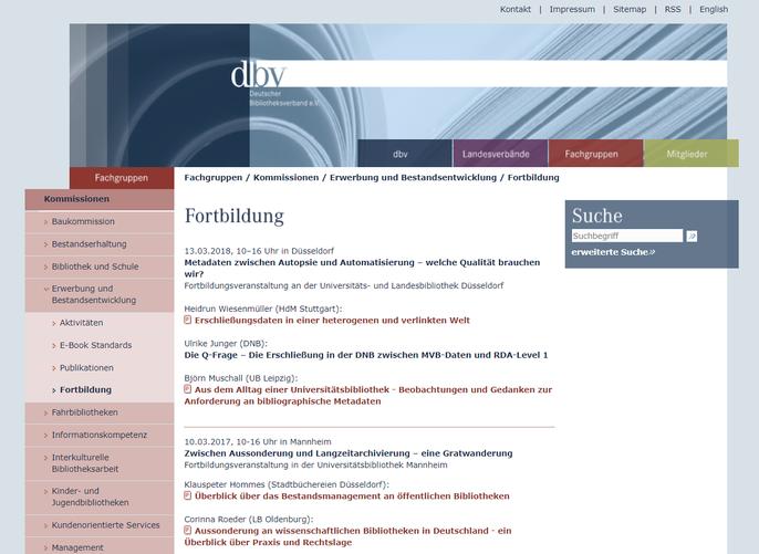 Website zu den Fortbildungen der Erwerbungskommission