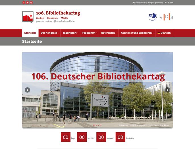Die Website zum 106. Deutschen Bibliothekartag in Frankfurt