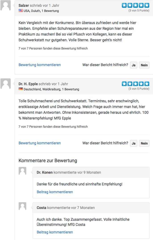 Rezensionen von Kunden der Schuhmacherei Ingrid Neumann Ingolstadt
