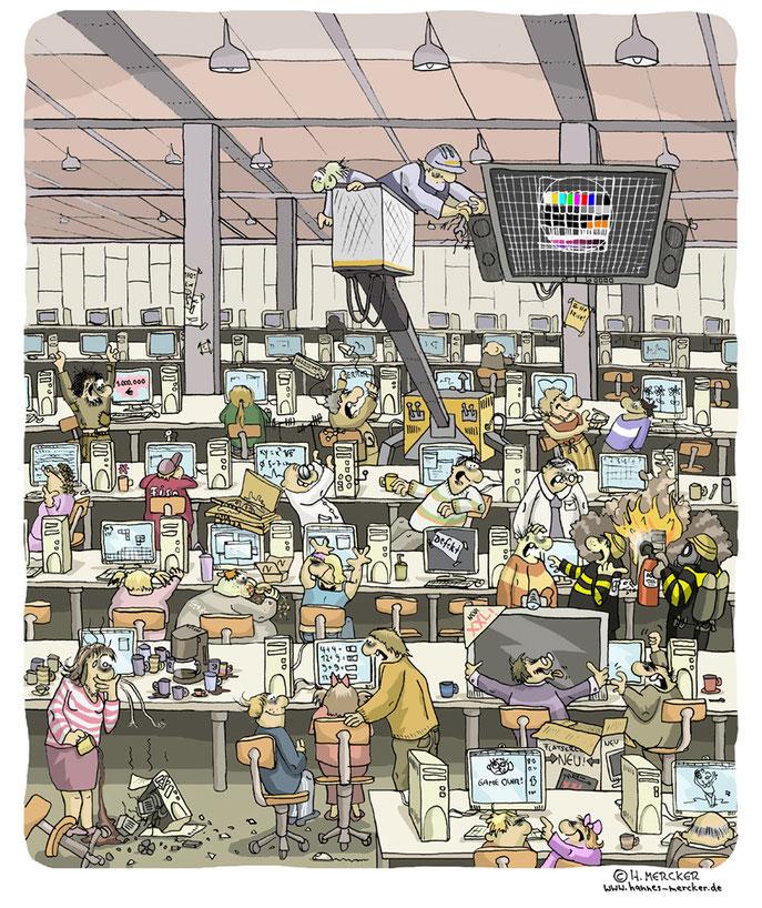 Darstellung eines Computerraumes als Wimmelbild. Illustrator: Hannes Mercker