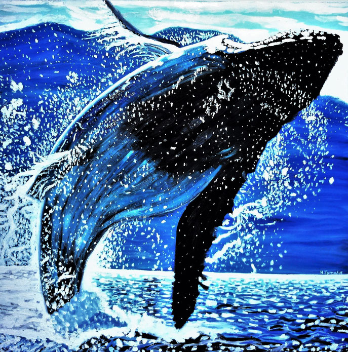 Jumping Humpback-Whale. 100 x 100 cm, oil on canvas, private owner