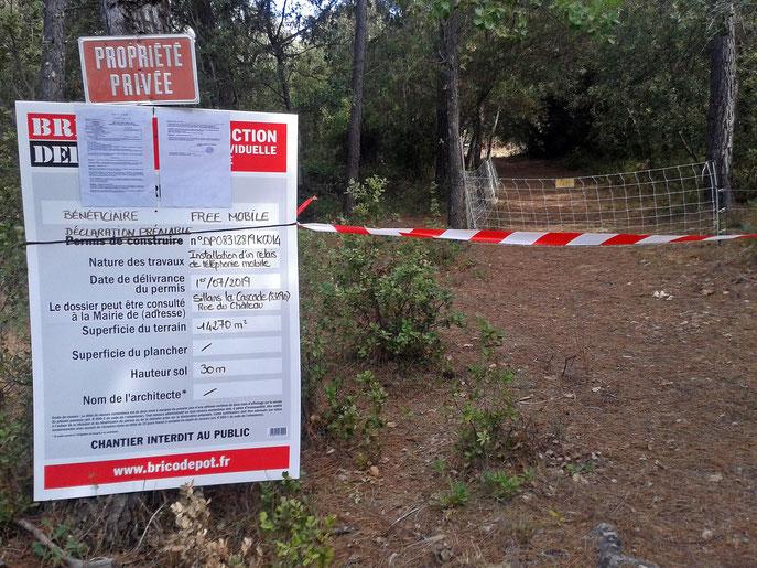 projet FREE sur un terrain privé : implantation d'1 pylône de 30m de haut