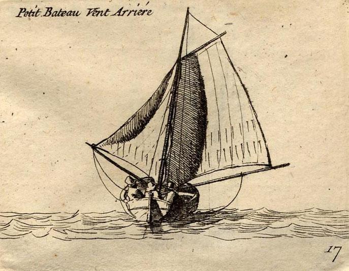 Petit sloup au vent arrière, le gréement de sloup est « moderne pour cette fin du XVIIIème le foc est tangonné, a dreuz comme on dit en breton  (Gravure Pierre Ozanne)
