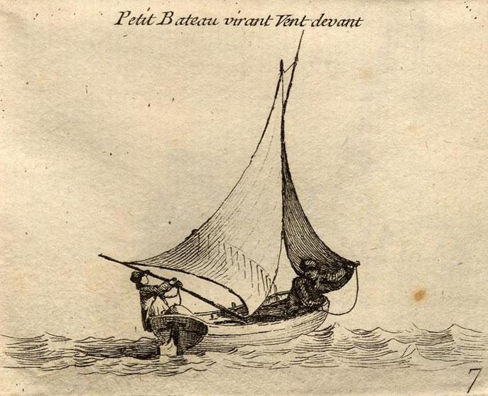 Virement de bord d'un petit sloup, le matelot maintient le foc à contre pour le faire abattre sous sa nouvelle amure, le bateau n'a pas de bout-dehors (Gravure Pierre Ozanne)