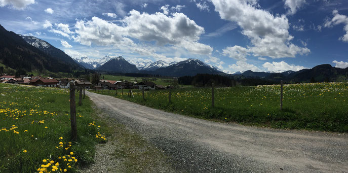 Aussicht von einer Ruhebank in Rubi mit Blick nach Oberstdorf