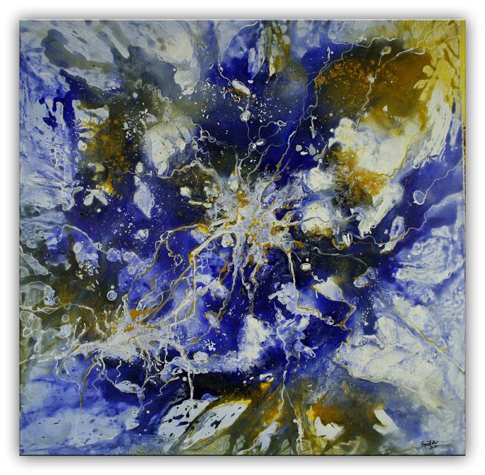 Vernetzt - Abstrakte Kunst blau ocker, Original Bild handgemalt quadratisch