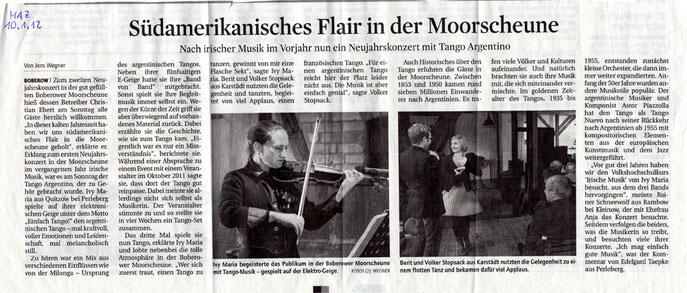 """Einfach Tango"" - Konzert in Boberow 10.Januar 2012"