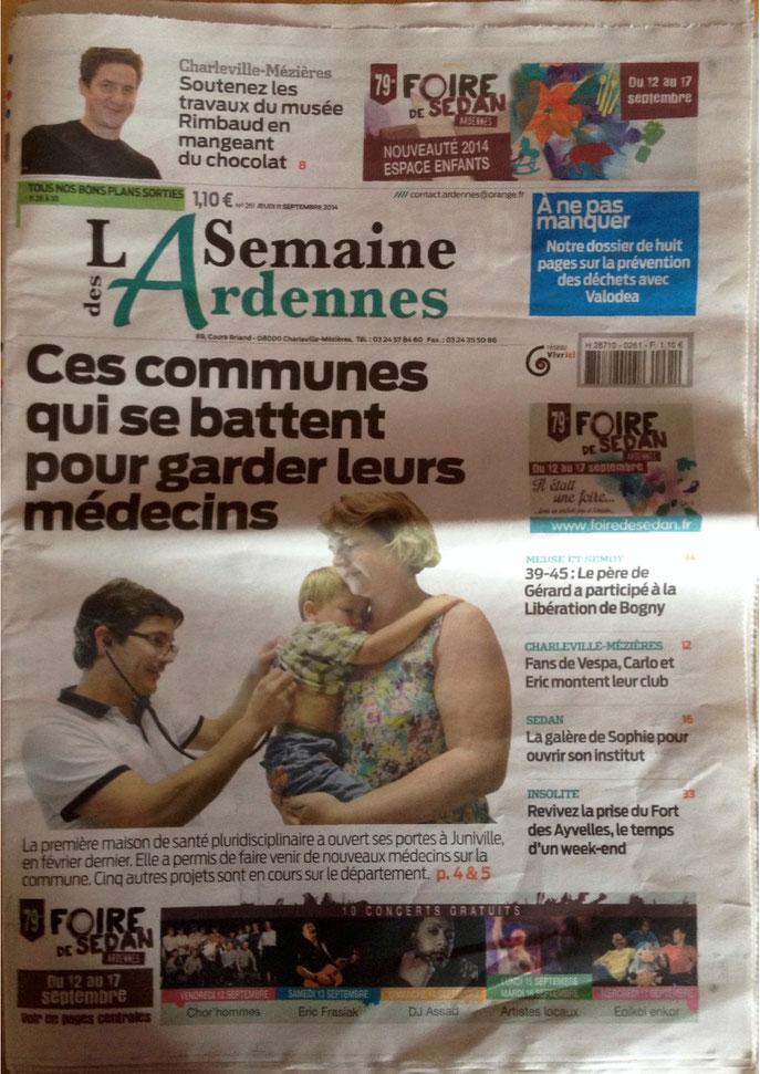 Article Semaine des Ardennes Septembre 2014