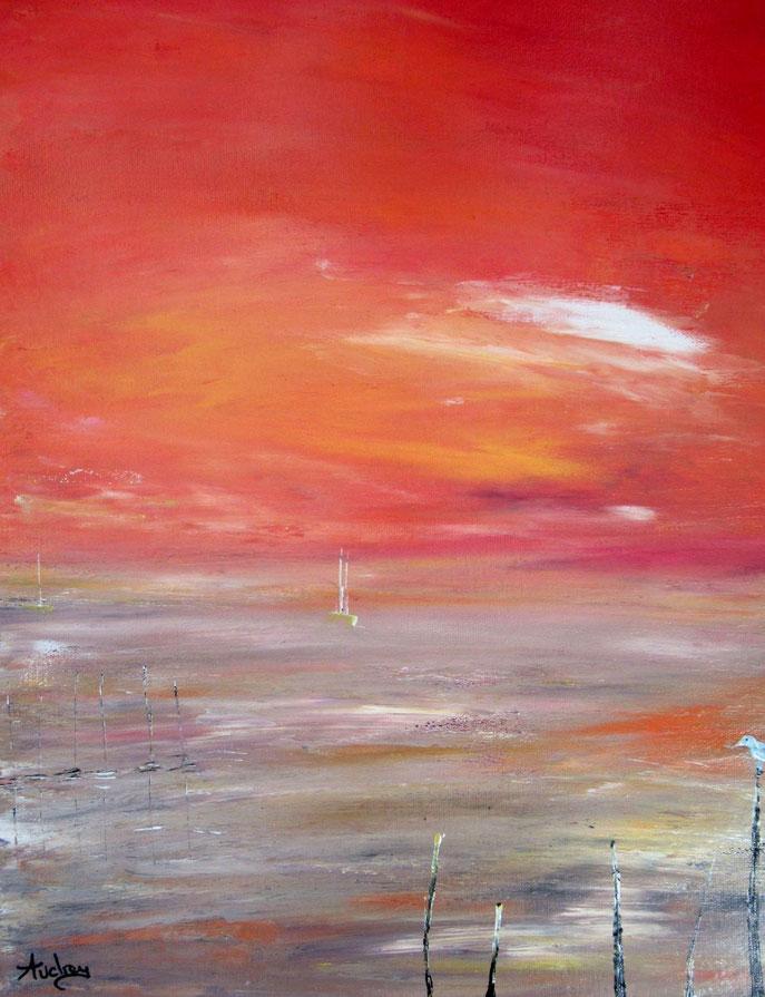 tableau-paysage-ocean-rouge-coucher-de-soleil-mouette-peinture-marine-sunset