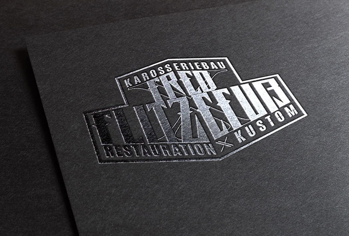 Logo Redesign for Fred Flitzefuß Custom, Businesscard silver foil, Visitenkarte mit Silberfolie, by Zuni from BRAVE & BUTT DESIGN STUDIO