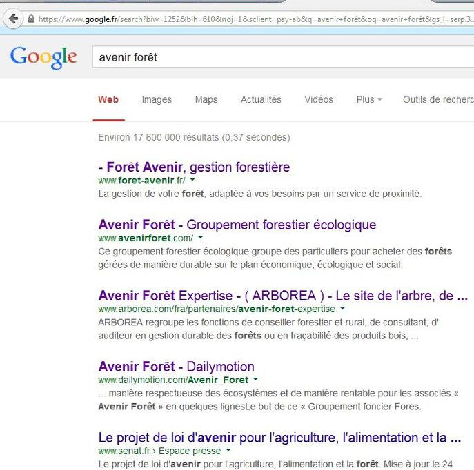 """Recherche Google pour """"avenir forêt"""""""