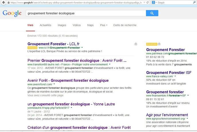 """Recherche Google pour """"groupement forestier écologique"""""""