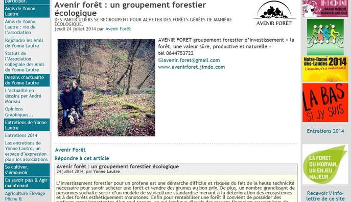 """La Une du site """"Yonne l'autre"""" du 24 juillet 2014."""