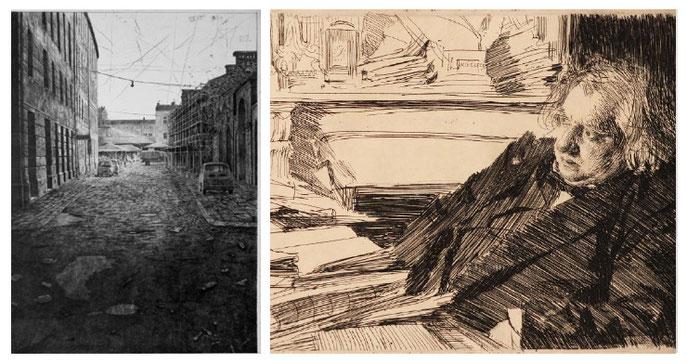 """""""Marché à Cracovie"""" - Pointe sèche de M. Kihlman             - """"Ernest Renan"""" - Eau-forte de A. Zorn (1860 - 1920)"""