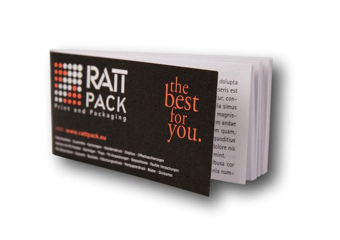 Booklets - Mini-Broschüren und Booklets: Statt Beipackzettel kommen sie um Einsatz, wenn eine herkömmliche Packungsbeilage den gestellten Anforderungen nicht genügt. von RATTPACK® für Deutschland, Österreich und die Schweiz