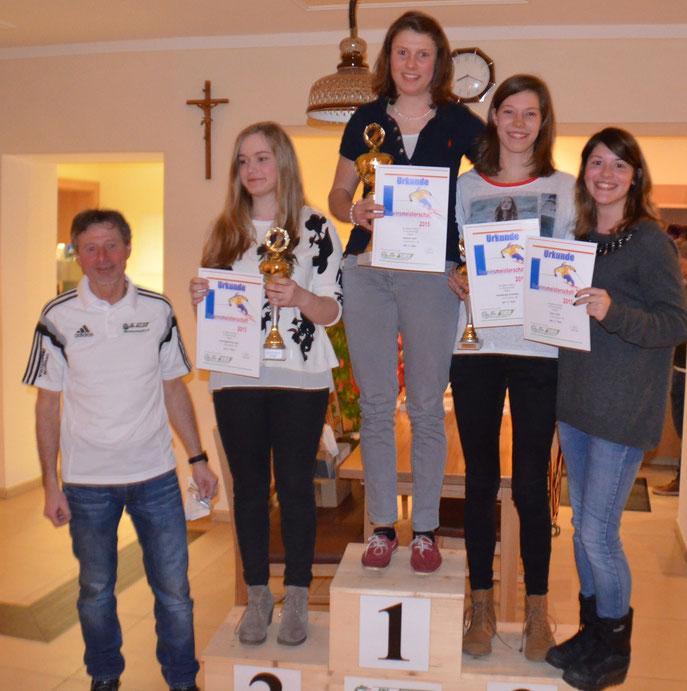 Die Sieger der Gruppe H, von rechts: Szücs Viola, Fürstberger Franziska, Reiterer Julia, Schwinghammer Julia, Vorstand Eduard Fraunhofer