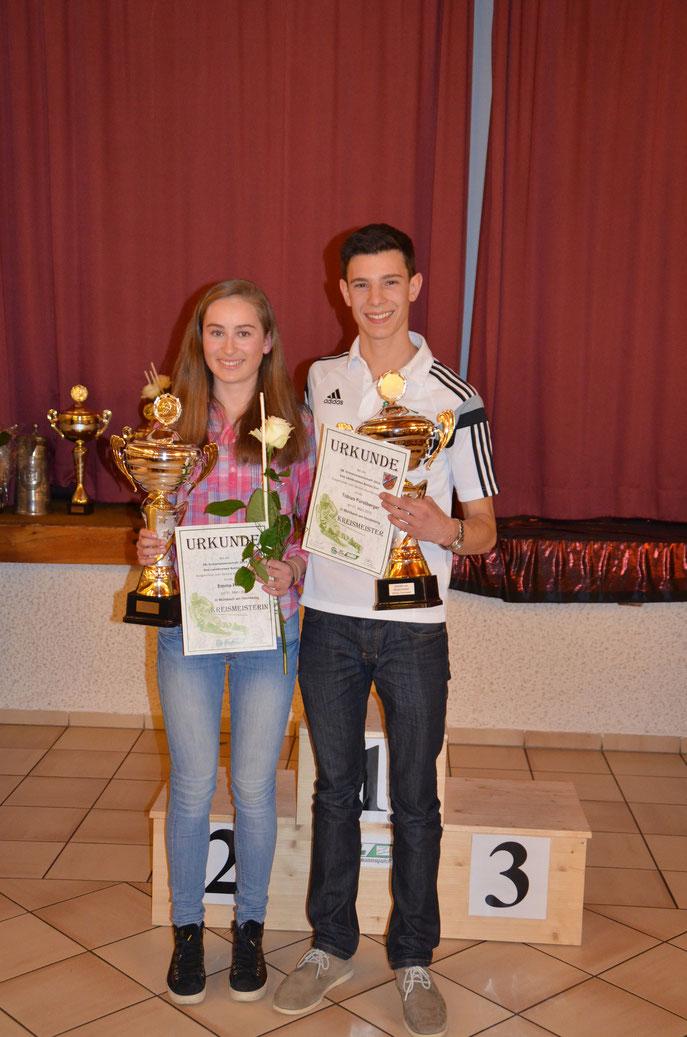 Die Kreismeister 2015 Emma Pfeifer vom TSV-DJK-Dietfurt und Tobias Fürstberger vom SC Wurmannsquick