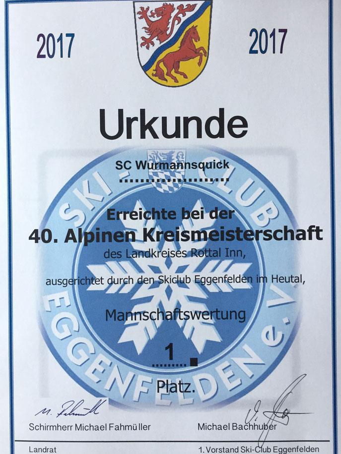Urkunde vom ersten Platz der Mannschaftswertung