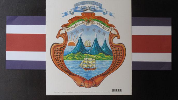Das Wappen und die Fahne von Costa Rica