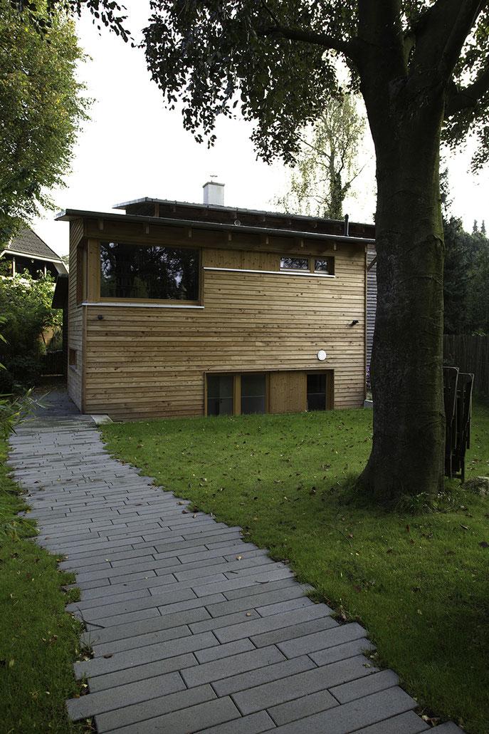Holzbau Erweiterung Einfamilienhaus in Buchholz in der Nordheide, Fassade Nord