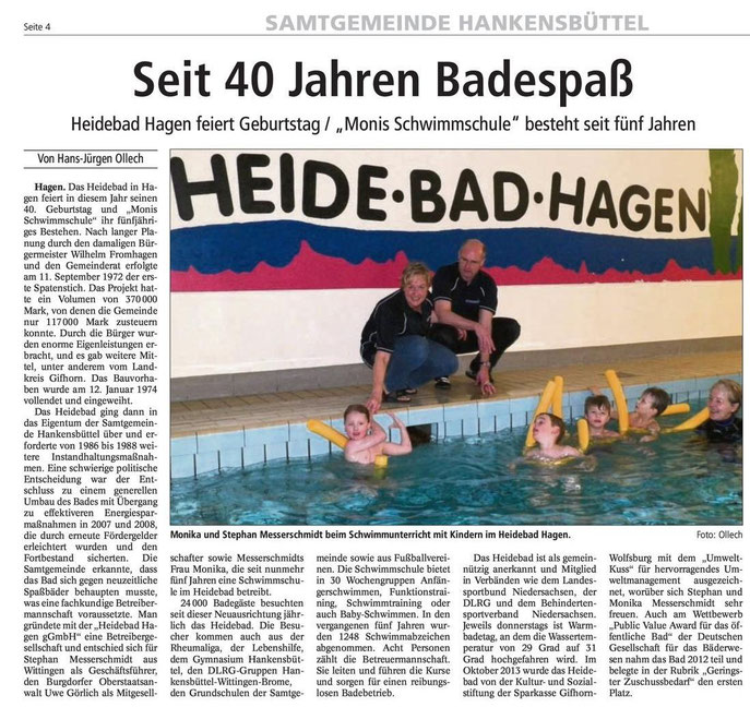 "Isenhagener Kreisblatt zu 40 Jahren ""Heidebad"""