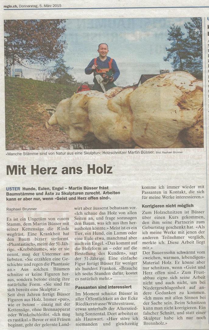 Der heutige Artikel im Regio Uster (05.03.2015)