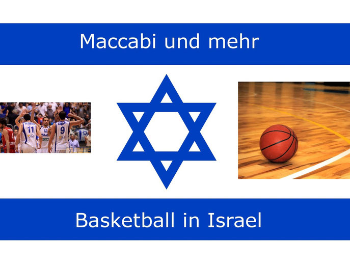 Israel-Fahne mit Basketballmotiven