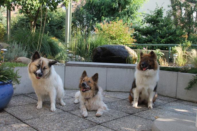 Oma Adina zwischen ihren Enkeln links Jessy und rechts Cherina