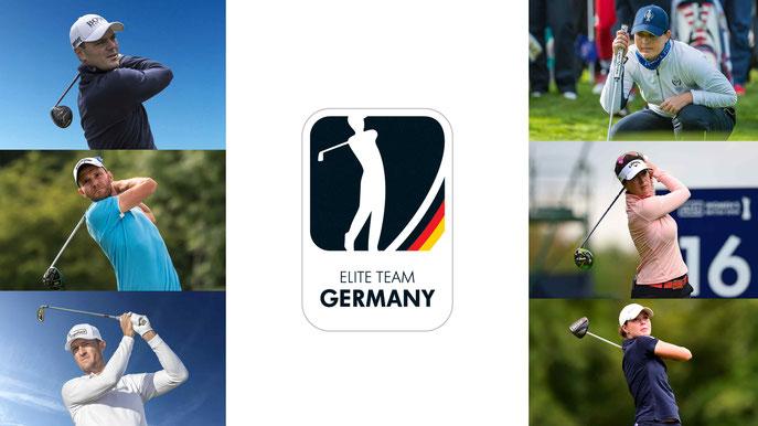 Das neu formierte Elite Team Germany: Martin Kaymer, Max Kieffer, Sebastian Heisele, Caroline Masson, Sandra Gal, Esther Henseleit - © golfsupport.nl