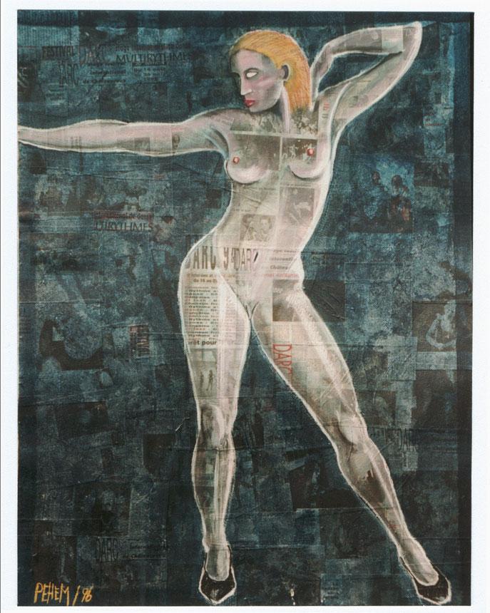 nu - pastel et acrylique sur journal marouflé sur bois - 125 cm / 95 cm